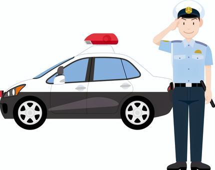 警察致敬警車夏天的衣服