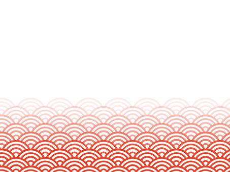 漸變半邊青海波浪背景:紅色