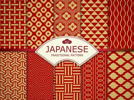 Simple Japanese pattern (gold red)
