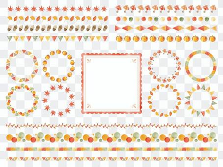Autumn watercolor style line brush set