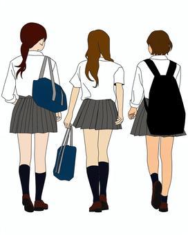 高中女生的後視圖
