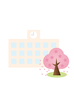 學校和櫻桃樹