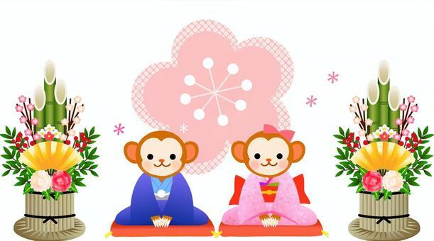 猴子和Kadomatsu的例證
