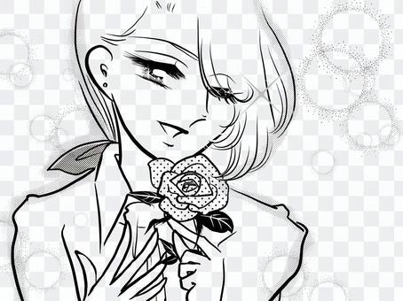 少女漫畫長發男孩和玫瑰花朵供認場面