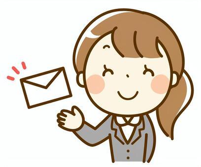 Suit woman sending mail