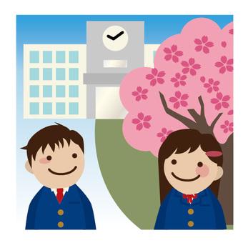 櫻花和校舍和學生
