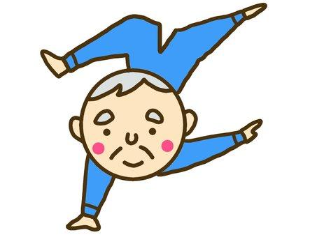 The grandfather preparing campaign for gymnastics
