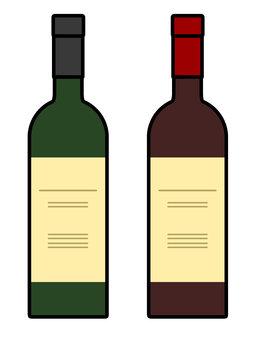 酒瓶紅酒白葡萄酒