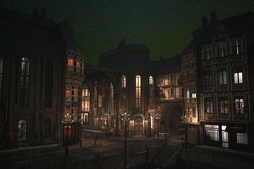 神奇的鄉村夜晚街角