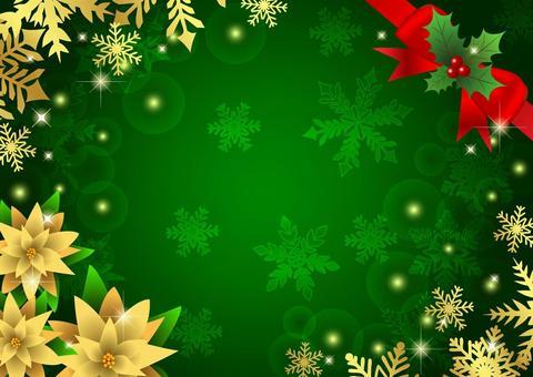 ポインセチアと雪のクリスマス背景緑