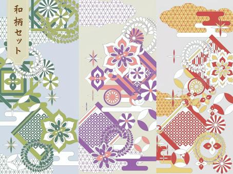 Pop Japanese pattern background material 01