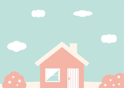 A pretty colored house landscape