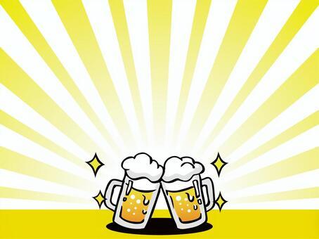 喝啤酒的插圖框架01