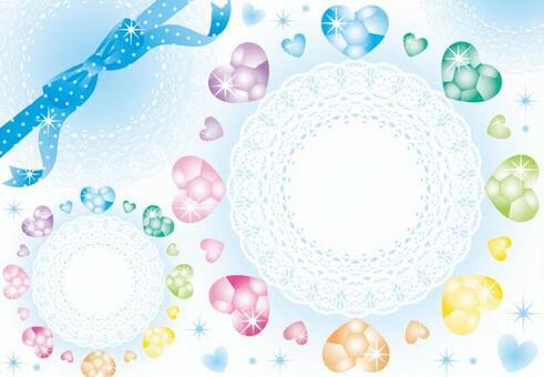 心飾品和花邊(藍絲帶)