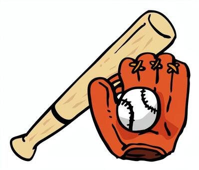 Baseball grab and ball and wooden bat 02