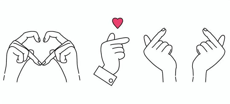 Finger heart / hand drawn