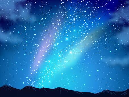 星星和夜晚的天空和山背景03