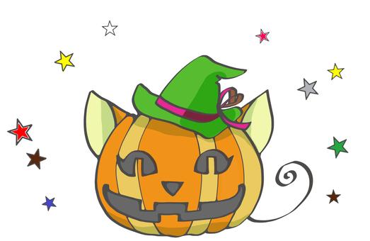 Cat-shaped Halloween pumpkin and stars 2