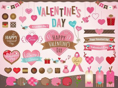 Valentine frame illustration set