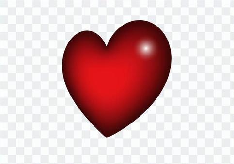 側身三維紅色心形插圖素材