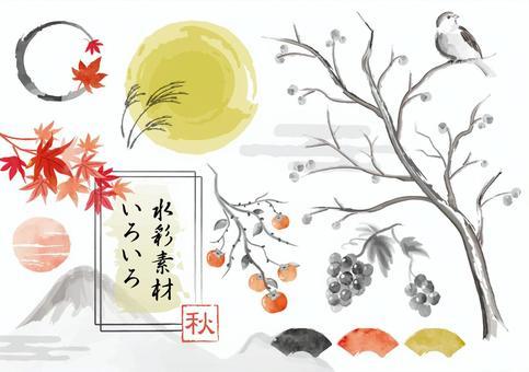 秋季水彩日本风格的材料