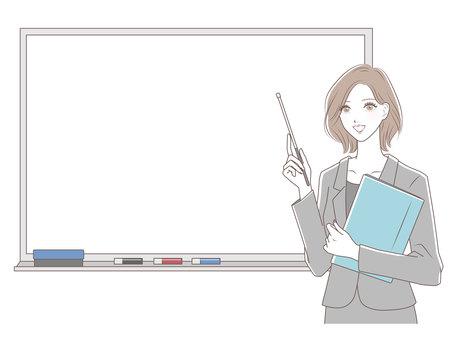 Woman teaching (whiteboard)