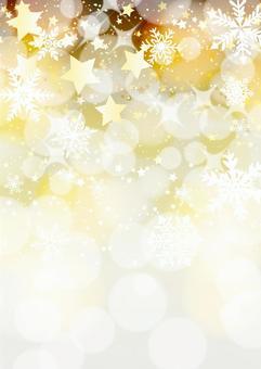 星と雪のキラキラ背景タテ金
