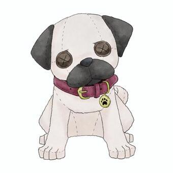 犬(パグ)動物ぬいぐるみイラスト