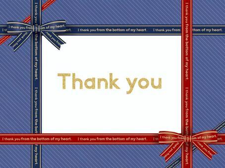 Ribbon Message Card (Blue) 01