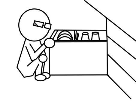Stickman (glasses) and dishwasher