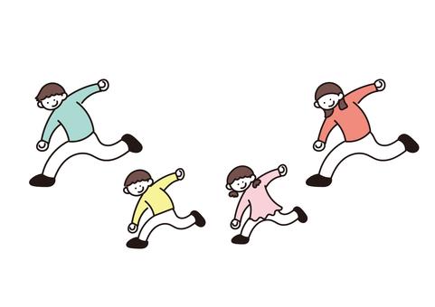 活潑的家庭插畫(跑步)