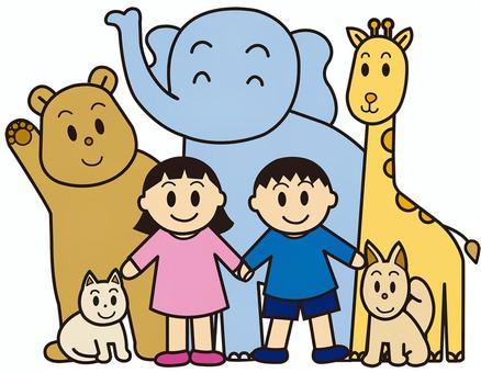 動物兒童大象熊長頸鹿貓的狗