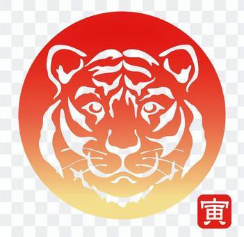 虎年新年賀卡材料 太陽和老虎的象徵
