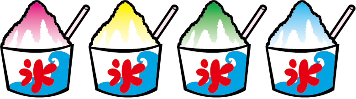 Four types of shaved ice