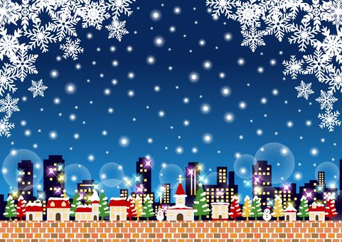 雪聖誕城市背景水平夜