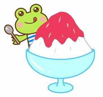 かき氷 夏 カエル 蛙
