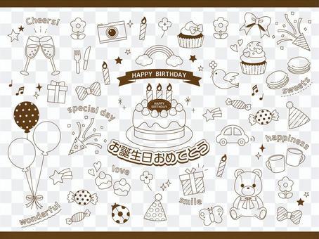生日聚會藝術線條插圖集/透明