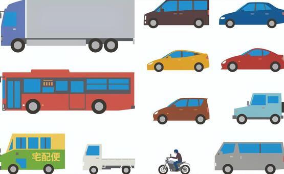 トラック、バス、自家用車、バイク等セット