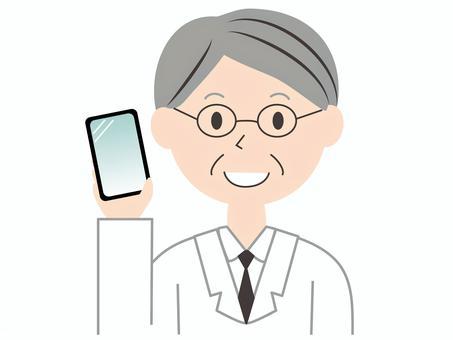 一件年長實驗室外套智能手機的男性醫生