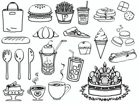 Illustration cafe monochrome