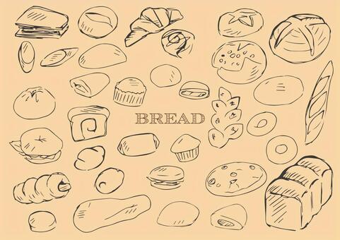 手繪麵包線描黑