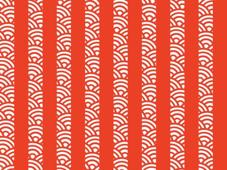 【日紋x紋】青海波浪x條紋:紅白