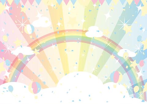 彩虹和柔和的天空和裝飾