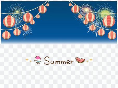 夜空中的燈籠和煙花框架(夏季)
