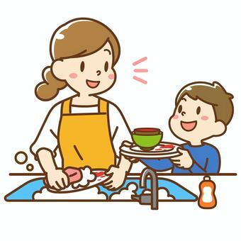 孩子們洗碗