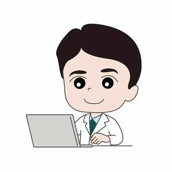 医師B:パソコン:テレワーク