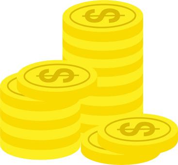 堆積的美元硬幣
