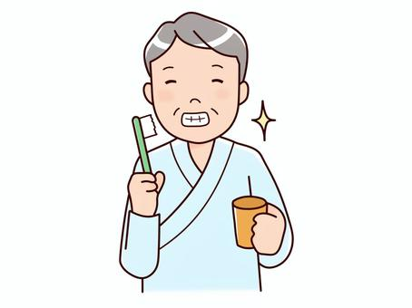 A man who brushes his teeth