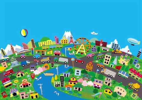 生動多彩的城市景觀壁紙