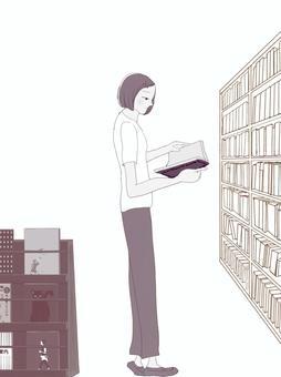 書籍閱讀器(書架和雜誌架棕褐色)